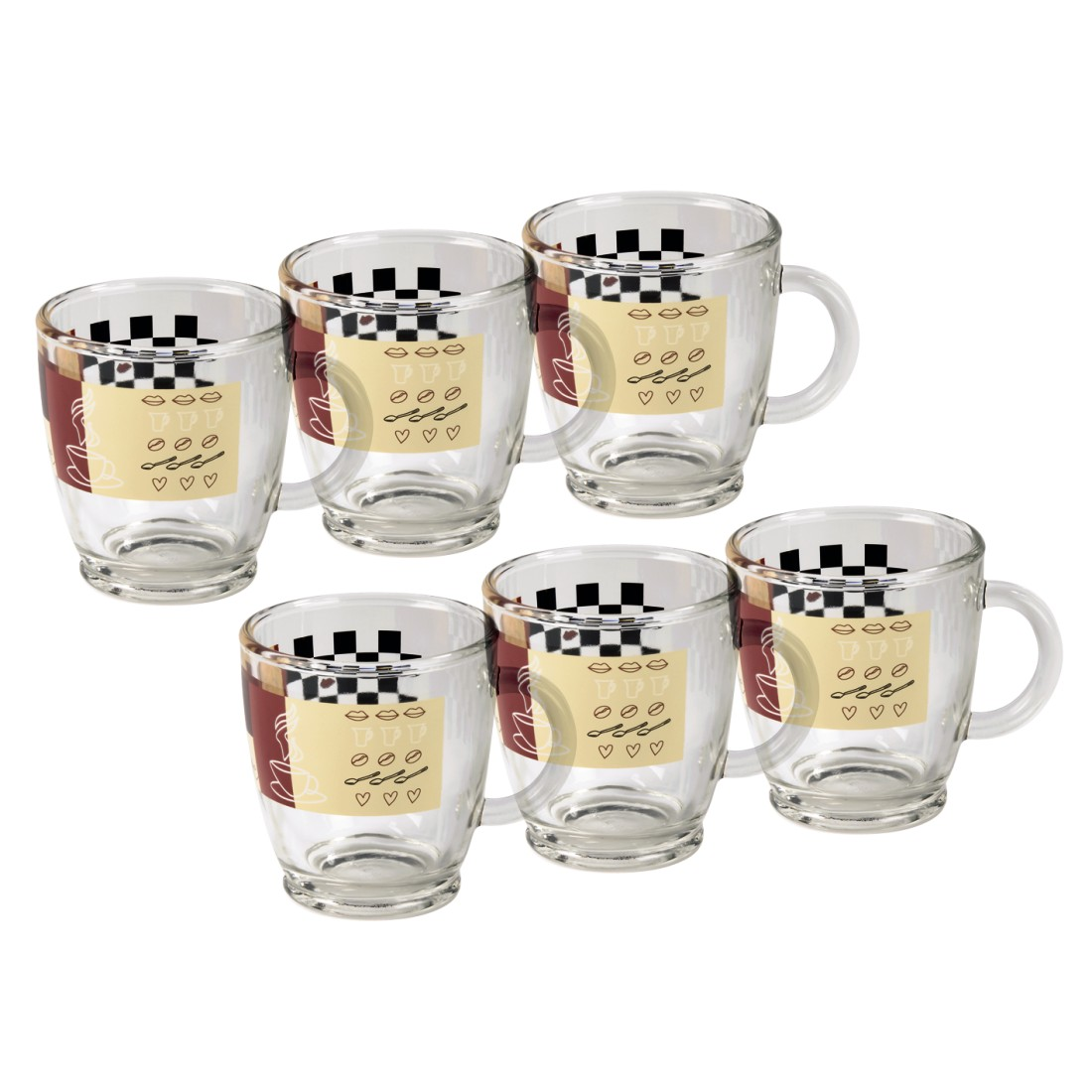 00111084 xavax kaffeetasse aus glas mit dekor 6 st ck xavax die starke marke im. Black Bedroom Furniture Sets. Home Design Ideas