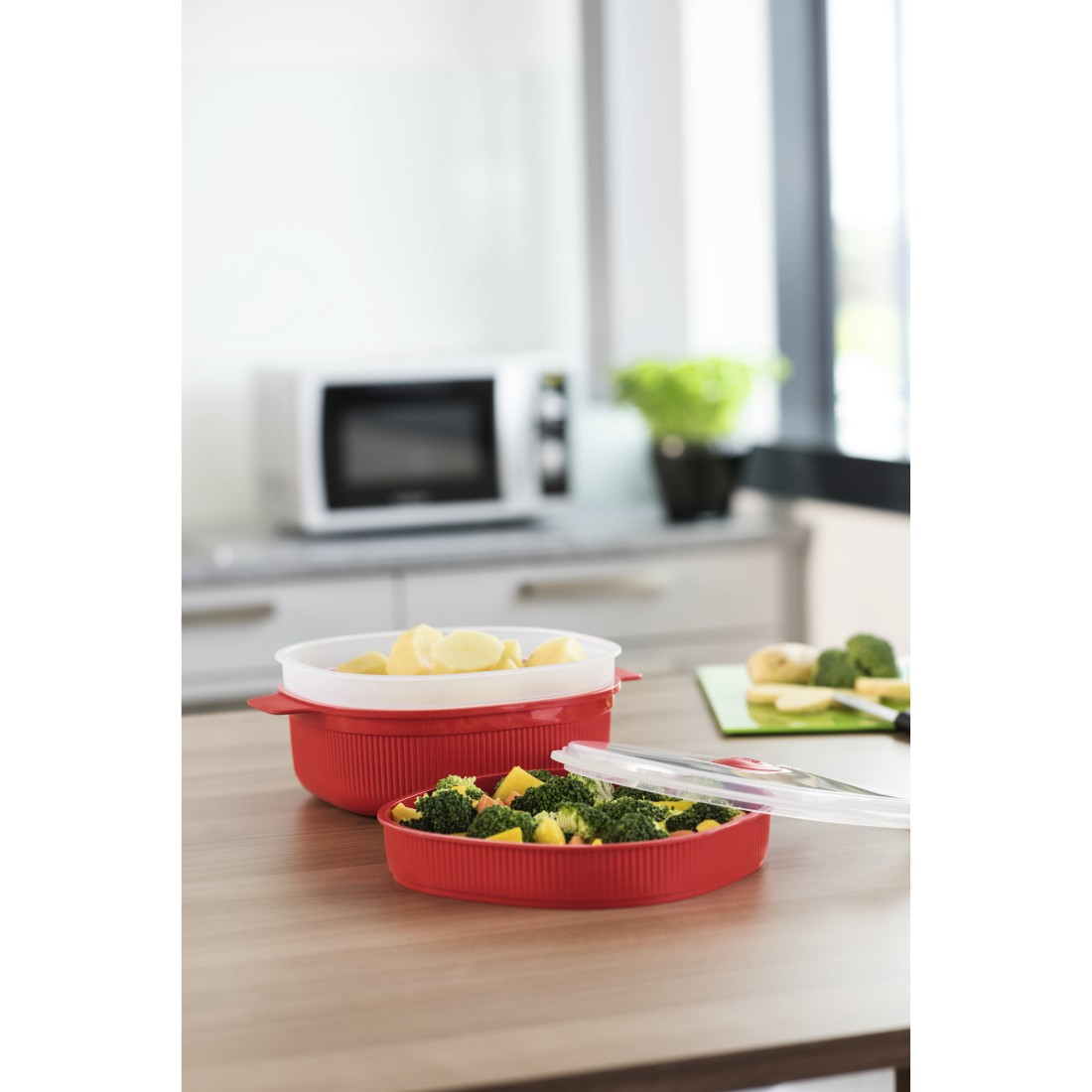 awx High-Res Appliance - Xavax, Microwave Steam Cooker, PP, 4 Litres, red