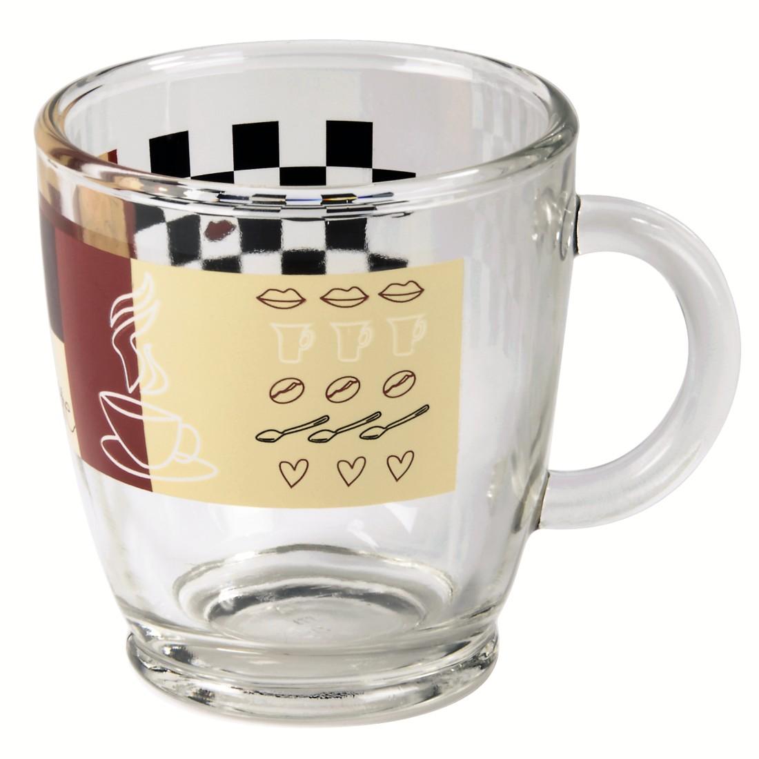 00111084 xavax kaffeetasse aus glas mit dekor 6 st ck. Black Bedroom Furniture Sets. Home Design Ideas